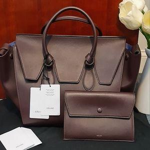 🎉BEAUTIFUL🎉 RARE Burgundy and Blue Celine Leather Tote EUC